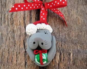 Santa Manatee with Present Ornament