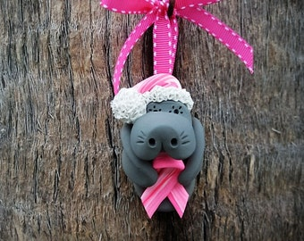 Santa Breast Cancer Awareness Manatee Ornament