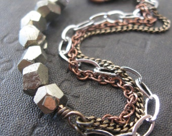 Pyrite and Mixed Metal Chain Bracelet
