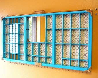 Vintage Antique Printer's Letterpress Wood Drawer Re-purposed into Jewelry Organizer Display for earrings and necklaces