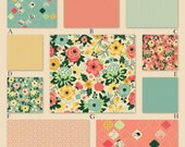 Coral, Mint and Butter Yellow Baby Girl Custom Crib Bedding - Fancy and Fabulous