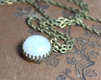 Moonstone Necklace Antiqued Brass Crown Setting Moonstone Cabochon Necklace Romantic Rustic Jewelry