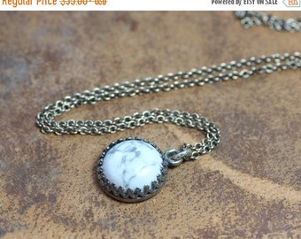 On Sale Full Moon Necklace White Gemstone Cabochon Pendant Crown Bezel Sterling Silver Chain Rustic Jewelry