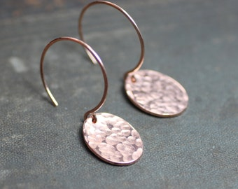 Textured Copper Earrings Hammered Copper Oval Disk Earrings Rustic Jewelry
