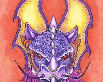 Purple Yellow Orange Winged Dragon Art Original Colored Pencil  Art by AllKindsofArt artist Glenda Mullins