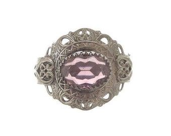 Art Deco Cuff Bracelet, Vintage Ornate Amethyst Bangle, 1930s Antique Art Deco Jewelry, Wedding Bracelets