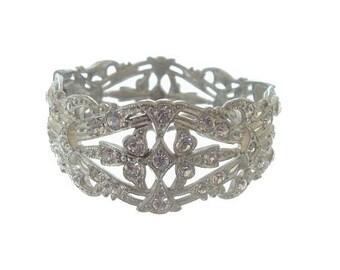 Art Deco Bangle Bracelet, Antique Wide Rhinestone Cuff, Original 1920s Art Deco Jewelry, Wedding Jewelry