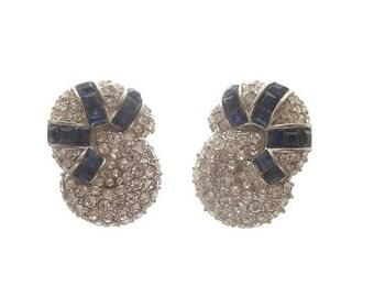 Sapphire Earrings, Crystal Rhinestone Clip On, Vintage Statement Jewelry, 1940s Vintage, Rhinetone Wedding Jewellery