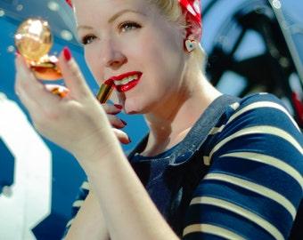 Sale sale super soft Vintage style sailor boatneck 3/4 sleeve tee in Navy Beige stripe American made rayon jersey