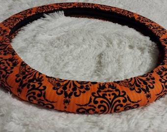 Damask Delight Halloween Steering Wheel Cover * Black Cat Skulls Bats Crows Spiders Webs Stars Orange Stipe  Black