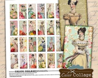 Jane Austen Digital Collage Sheet, 1x2 Domino Images, Printable Sheets, Domino Printable, CalicoCollage, Digital Download, Digital Sheet,