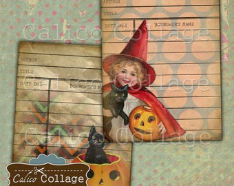 All Hallows Eve, Library Cards, Collage Sheet, Printable, Vintage Halloween, Ephemera, Digital Download, Digital Tags, Vintage Library Cards