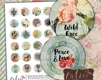 Boho Collage Sheet, 30mm Circles, Digital Sheet, Printable Images, Collage Sheets, Digital Circles, Digital Download, Images for Pendants