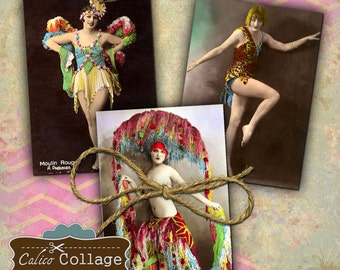 Burlesque Dancers Collage Sheet 2.5x3.5 ATC Altered Art Pinup Images Mixed Media Collage Sheet Decoupage Paper Printable Images