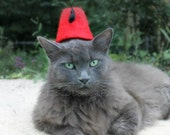 Fez for Cats or Dogs - Cat Fez - Fez for Dog - Cat Doctor Who Fez - Felted Fez - Photo Prop - Costumes for Cats