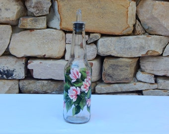 Hand Painted Glass Bottle with Peach-Colored Flowers and Free Flowing Spout