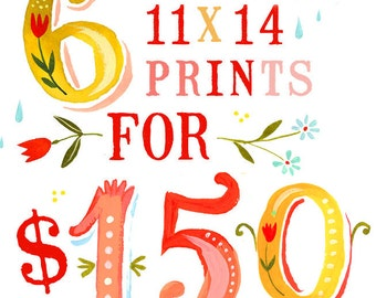 SALE - Set of 6 11x14 Prints