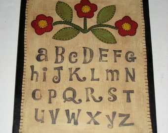 Primitive Folk Art Painted Sampler - Penny Rug Style Painting