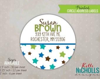Twinkle Twinkle Little Star Circle Address Labels, Baby Boy Custom Sticker #S118