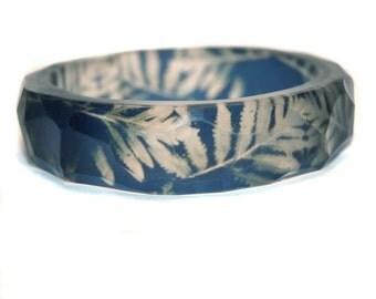 Blue Fern Resin Bangle Bracelet