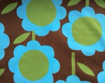 created by Kokka and made in Japan - large scale floral in turquoise, brown and green : 1 3/4 yard