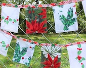Cloth Banner Christmas 7 ft long Vintage Fabrics Green Red Bunting Holiday