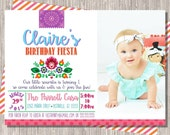Girl Fiesta Birthday Invitation UNO First Birthday, 5x7 Printable JPG