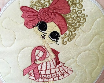 """Quilted PINK RIBBON Pillow . . . Embroidered Design . . . 12"""" Pillow . . . Great Gift From the Heart"""