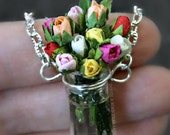 Mixed Roses Bouquet Flower Necklace with Sterling Silver Chain