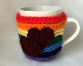 Rainbow Hand Knit Coffee Mug Cozy with 2 Hearts