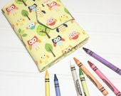 Crayon Wallet - Children's Coloring Hip Trendy Toddler Travel - Ready to ship - Owl forest