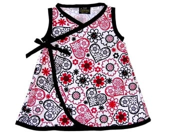 Heart Dress - Black And White - Red Dress - Black Dress - Queen of Hearts - Toddler Dress - Girls Dress - Cotton Dress -  2t - 3t