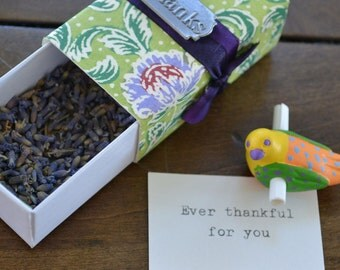 Thank You Message Box with a tiny scroll bird (blank for your message)