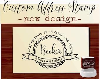 Calligraphy Handwriting Script Custom Return Address Stamp - Personalized SELF INKING Wedding Stationery Stamper - Style 1104