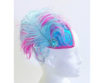 Pink Teal Brocade Teardrop Fascinator Hat