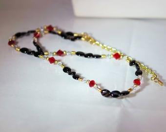 Gemstone and Swarovski Crystal Jewelry - Black Agate & Swarovski Crystal Necklace