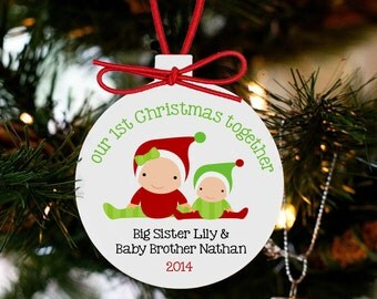 Baby's first Christmas ornament personalized for the whole family - brothers and sisters and all PBFCWSO