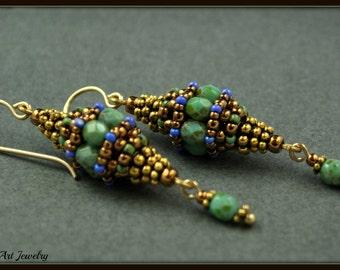 Beadwoven, Beadwork, Beaded Bead Earrings