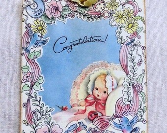 Vintage Style Congratulations New Baby Gift or Scrapbook Tags or Magnet #175