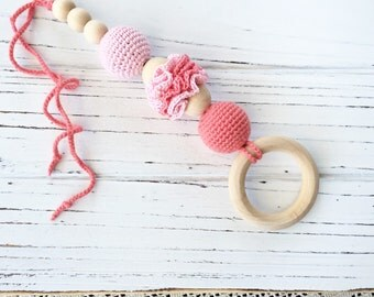 Teething toy, Baby teether, pnk - coral -  baby toy, crochet baby toy, eco friendly - baby toy, wooden teether - baby shower gift