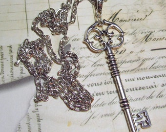 Large Skeleton Key Necklace in Antique Silver Finish, Extra Long Chain