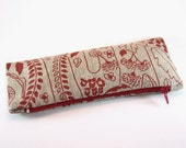 Mother's Day Gift Ideas, Organic Linen Red Pencil Case, SALE, Poppy Zipper Pouch, Teacher Gift, Stationary Gifts, Coin Purse