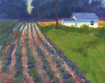 October in Eastern North Carolina acrylic landscape painting