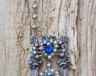 Stunning Blue Heart Vintage Restyled Necklace