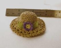 Miniature Crochet Raffia Sun Hat One Inch Scale