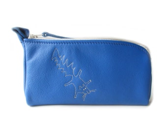 blue leather pouch squirrel glasses case