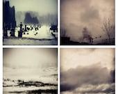 Photo Print Set 4 Square Moody Black and White Landscape Fine Art Photos