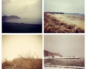 Photo Print Set 4 Square Maine Winter Beach Nautical Sand Dune Grass Fine Art Photos