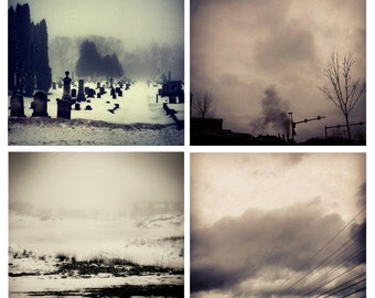 Photo Print Set 4 Square Moody Black and White Landscape Fine Art Photos