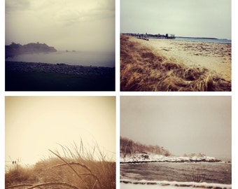 Photo Print Set 4 Square Maine Winter Beach Nautical Sand Dune Grass Fine Art Photos